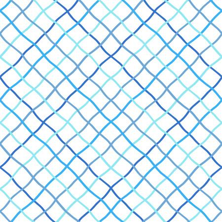 Deformado, deformado, distorsionado, dibujado a mano, celosía, red de pesca, enrejado, textura de rejilla, patrón. Mar azul marino, marino, fondo de vector transparente. Malla hecha de rayas de doodle diagonales onduladas cruzadas. Ilustración de vector