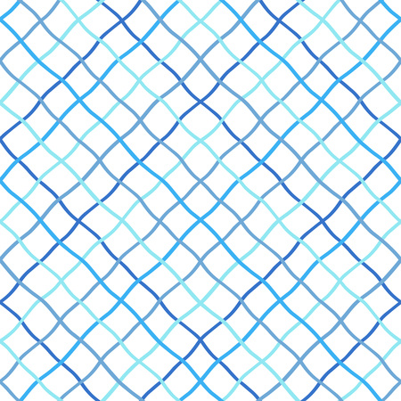 Deformed, warped, distorted, hand drawn, lattice, fishing net, trellis, grating texture, pattern. Navy blue sea, marine, seamless vector background. Mesh made of crossing wavy diagonal doodle stripes. Vectores