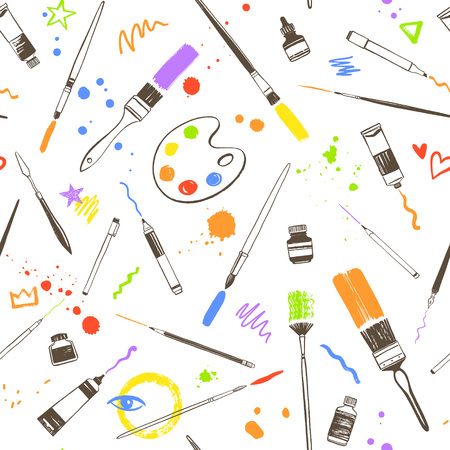 Creative colorful seamless background, hand drawn art tools, artist equipment pattern. Paint bottles, oil or acrylic tubes, brushes with strokes and blobs, doodles. Texture for painting supplies. Illustration