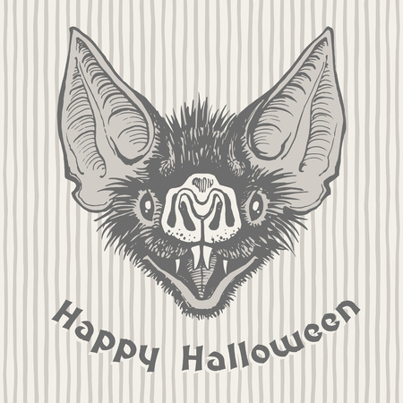 Happy Halloween vintage hand drawn greeting card. Scary vampire bats head with open mouth and bared fangs ink drawing. Witchcraft, magic, witchery illustration. Striped background, uneven stripes. Illustration