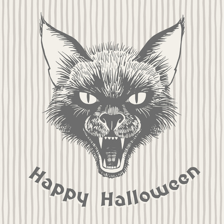 Happy Halloween vintage hand drawn greeting card. Scary black cats head with open mouth and bared fangs ink drawing. Witchcraft, magic, sorcery illustration. Grinning muzzle on striped background.