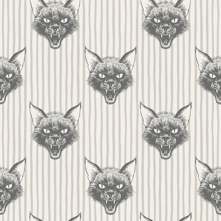 Black cats head with open mouth and bared fangs regular pattern. Halloween, witchcraft, magic, sorcery, horror background. Striped seamless vector texture. Stripes, streaks, bars, uneven doodle lines