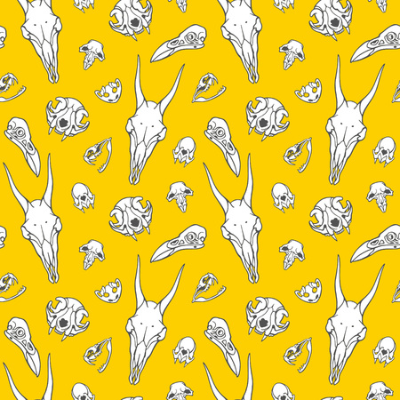 Hand drawn skulls of witch animals seamless pattern. Rat, bat, goat, toad, raven, snake, cat sculls. Symbols of black magic, voodoo, witchcraft, sorcery, necromancy. Halloween, gothic scary background
