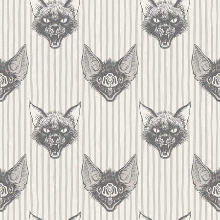 Black cat and vampire bat head with open mouth and bared fangs regular pattern. Halloween, witchcraft, magic, sorcery, horror background. Striped seamless vector texture. Stripes, uneven doodle lines