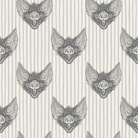 Vampire bats head with open mouth and bared fangs regular pattern. Halloween, witchcraft, magic, horror retro background. Striped seamless vector texture. Stripes, streaks, bars, uneven doodle lines