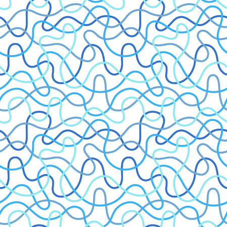 Chaotic crossing curves or winding, sinuous, wavy, twisting, distorted stripes. Endless curved, deformed, bent lines irregular tangled texture. Sea, water blue background