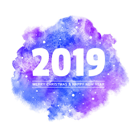 Christmas and Happy New Year 2019 greeting card with big date. Blue, purple watercolor stains rounded background. Typographic composition, snow, snowflakes, numbers. Aquarelle texture, blurry edge.
