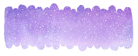 Winter watercolor background with snow, snowflakes texture. Elongated brush stroke shape, uneven rounded edge. Christmas, New Year hand drawn border, frame template. Violet, lilac watercolour stains.