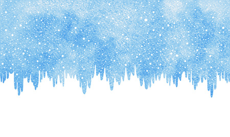 Winter watercolor horizontal border, frame. Christmas, New Year background with snow, snowflakes texture. Icicles, ice uneven edge. Hand drawn template with space for text. Blue watercolour stains.