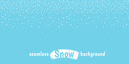 New Year, Christmas elongated, long horizontal border, textured stripe, frame template. Winter background, hand drawn falling snow texture, uneven round dots, snowflakes, flakes, spots, drops, blobs. Çizim