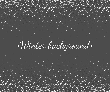 New Year, Christmas border, frame template. Seamless in horizontal direction stripe. Winter background, hand drawn falling snow texture, uneven round fading dots, snowflakes, flakes, spots, blobs.