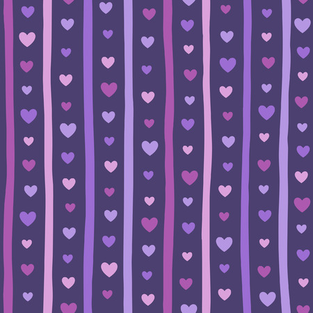 Hearts and doodle style vertical stripes seamless vector pattern. Violet, lilac, purple colors. Valentine's day cute simple background. Hearts and uneven bars, streaks, parallel lines endless texture. 矢量图像