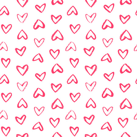 Brush drawn doodle style heart shapes, outlines seamless repeat vector pattern. Valentines day artistic painted background. Various, different, hand drawn hearts with rough, textured, uneven edge.