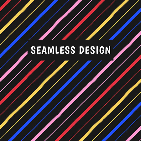 Colorful diagonal hand drawn stripes, streaks seamless background, pattern. Tilted multicolored doodle lines, inclined pinstripes, bars of different width. Striped modern colors texture.