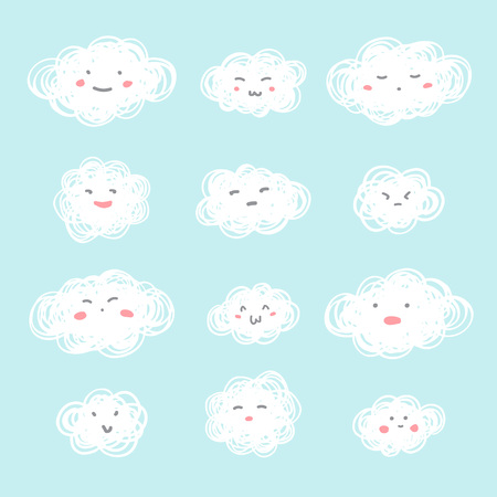 Hand drawn doodle style illustration. Set of cute clouds with funny flat cartoon emoji smiley faces and blush rosy cheeks. Emoticons with various facial expressions, emotions. Textured tangled shapes