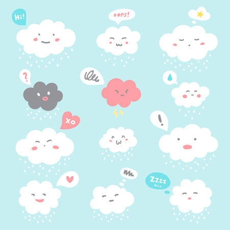 Flat style illustration. Cute fluffy smiley clouds with cartoon doodle emoji faces and speech bubbles. Emoticons with facial expressions, emotions - anger, love, surprise, shame, joy, distrust, sleepy Foto de archivo - 113027061
