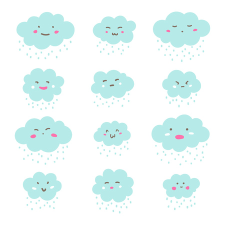Flat style cute clouds with funny doodle cartoon emoji smiley faces and rain drops, snow. Emoticons set, collection with various facial expressions, emotions - anger, distrust, surprise, shame, joy.