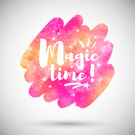 Watercolor rounded diagonal brush stroke shape with Magic time lettering and stars, sparks. Holiday magical typographic composition and colorful pink and orange watercolour background, texture. Foto de archivo - 113027067