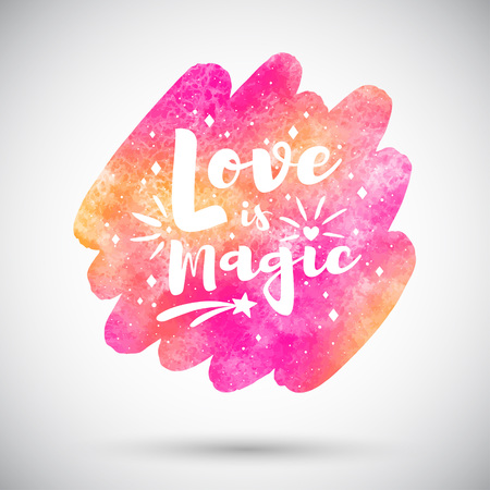 Valentines day vector greeting card. Pink, orange watercolor stains background with Love is magic lettering, typography composition with heart, spark, twinkle. Watercolour rounded brush stroke shape. Foto de archivo - 113027068