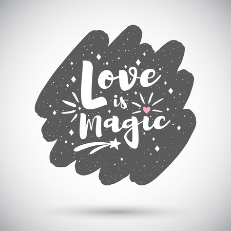 Love is magic Valentine's day vector greeting card, illustration. Rounded diagonal brush stroke shape background with lettering, typography composition, heart, sparks, twinkles. Grunge spray texture. Foto de archivo - 113027070