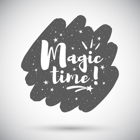 Magic time holiday illustration. Rounded diagonal brush stroke shape background with lettering, typography composition, stars, sparks, twinkles. Grunge spray texture, frame template, design element. Foto de archivo - 113027074