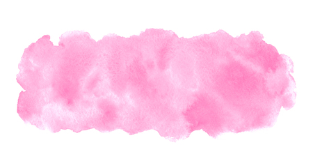 Rose pink watercolor stains painted texture. Valentines, 8 March, Women day watercolor background for text, banners. Rounded elongated, long rectangle shape, brush stroke. Hand drawn aquarelle fill. Foto de archivo - 113027071