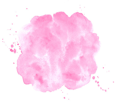 Rose pink watercolor stains painted texture. Valentines, 8 March, Women day watercolor background for text, cards, banners. Rounded, uneven circle shape, brush stroke. Hand drawn aquarelle fill. Foto de archivo - 113027076