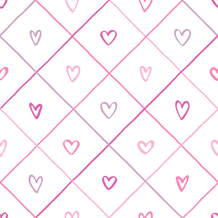 Hand drawn various pink hearts and crossing stripes, streaks seamless vector pattern. Valentines day background. Uneven doodle style lattice, square grid, plaid, check regular texture. Foto de archivo - 113027077