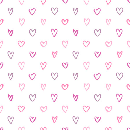 Doodle style seamless pattern. Valentines day hand drawn background, template. Various cute little heart shapes regular texture. Foto de archivo - 113027084