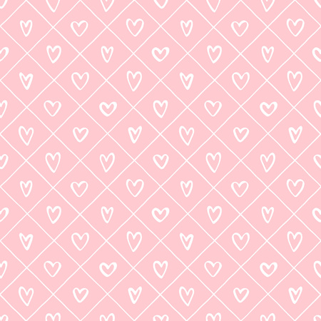 Valentines day background. Various hearts and crossing stripes, streaks seamless vector repeat pattern. Uneven hand drawn lattice, square grid, trellis, grating regular texture. Foto de archivo - 113027080