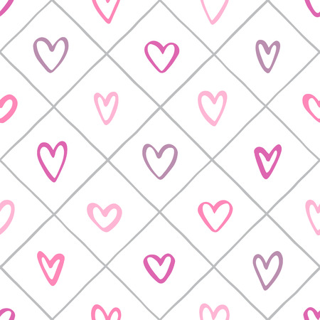 Various hearts and crossing stripes, streaks seamless vector repeat pattern. Valentines day background. Uneven hand drawn lattice, square grid, trellis, grating regular texture. Foto de archivo - 113027082