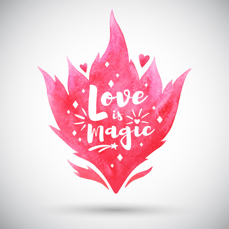 Valentines Day illustration. Pink watercolor vector fire silhouette, flame shape. Love is magic typography with lettering, spark, heart. Watercolor template, background, design element. Foto de archivo - 113027083
