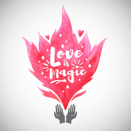 Valentines Day illustration. Cupped hands silhouette watercolor pink vector fire. Love is magic typography composition, spark, heart. Watercolor flame shape pattern for greetings, design element Foto de archivo - 113027081