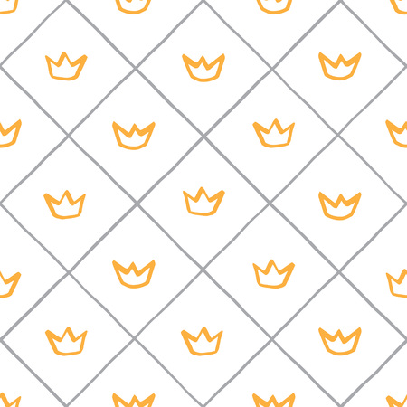 Small, cute, checkered pattern, check regular texture seamless vector pattern. Uneven hand drawn edges. Marker, Gold, Grant, Lattice, Square grid Background Foto de archivo - 116210504