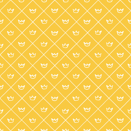 Tiny, small outline crowns and plaid, check regular texture seamless vector pattern. Uneven hand drawn edges. Marker, brush drawn, yellow corona and trellis, grating, lattice, square grid background. Foto de archivo - 116210506