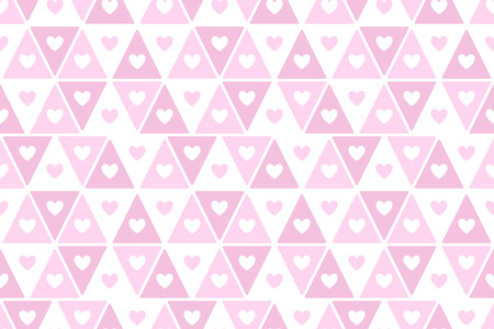 Simple hearts and triangles regular texture. Geometric abstract vector pattern. Flat design horizontal border, frame template. Rose, lilac, pink valentines day seamless repeat rectangle background. Foto de archivo - 116210508