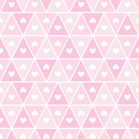 Simple hearts and grid mesh grid textures. Geometric abstract vector pattern. Flat design horizontal border, frame template. Rose, flamingo pink valentines day seamless repeat background.