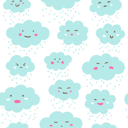 Flat style clouds with cartoon doodle faces seamless repeat vector pattern. Fluffy shapes with rain, snow texture. Emoticons with various facial expressions, emotions. Weather, nature funny background Foto de archivo - 116210516