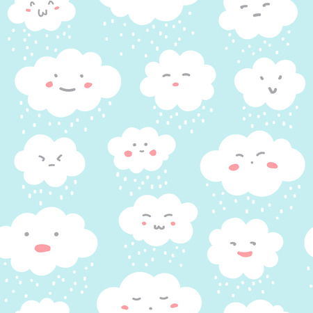 Flat style clouds with cartoon doodle faces seamless repeat vector pattern. Fluffy shapes with rain, snow texture. Emoticons with various facial expressions, emotions. Weather, nature funny background Foto de archivo - 116210517