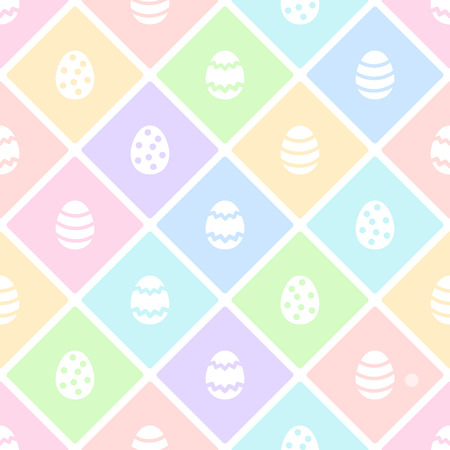 Easter flat design seamless repeat vector pattern. Painted geometric pattern, diagonal check, plaid, mesh, fence Multicolored, colorful background. Foto de archivo - 116210518