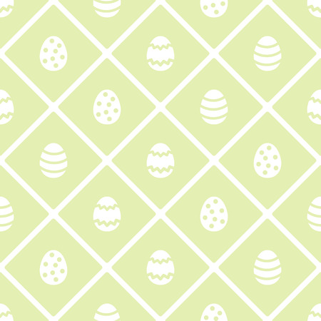 Flat design Happy Easter seamless pattern with colorful eggs. Colorful geometric abstract texture with squares, check, plaid. Holiday white, green spring background. Foto de archivo - 116210519