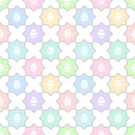 Easter, spring seamless repeat eggs pattern. Regular mosaic, tile multicolor texture, ornamental colorful background with polygon shapes. Soft, pastel colors. Foto de archivo - 116210520