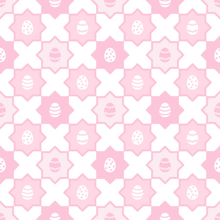 Easter, spring seamless repeat eggs pattern. Regular mosaic, tile texture, ornamental pink and white background with polygon shapes. Soft, pastel colors. Foto de archivo - 116210521