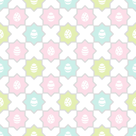 Easter, spring seamless repeat eggs pattern. Regular mosaic, colorful tile texture, ornamental background with polygon shapes. Soft, pastel colors. Foto de archivo - 116210522
