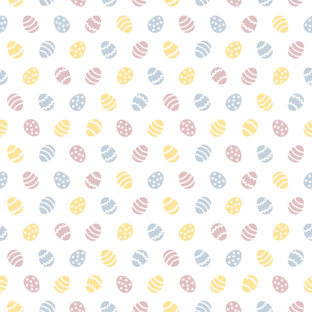 Colorful Happy Easter seamless repeat pattern with tiny, small painted stylized eggs. Simple flat design regular texture, spring background. Pastel pink, blue, yellow colors greetings template. Foto de archivo - 116210524