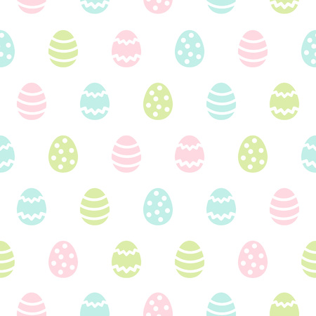 Simple Easter seamless repeat pattern. Flat design regular texture, spring background. Blush pink, grass green, sky blue pastel colors card, greetings template. Foto de archivo - 116210525