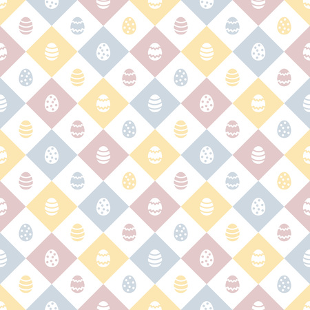 Easter seamless vector pattern with simple painted eggs. Flat design holiday background. Colorful geometric abstract texture with squares, check, plaid. Yellow. pink, green colors. Foto de archivo - 116210530