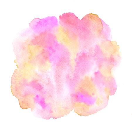 Colorful watercolor round shape with pink, orange, yellow stains. March 8, Valentine's Day, Women Day circle background, aquarelle texture. Watercolor hand drawn painted template for greetings, frames, Foto de archivo - 116210532