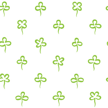 Various hand marker drawn clover leaves, shamrock seamless repeat vector pattern. St.Patrick's day, spring background. Stylized simple doodle style trefoil, quatrefoil outline texture. Foto de archivo - 116210534