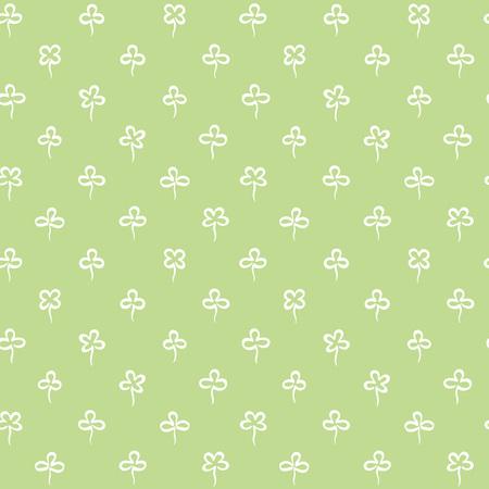 Various shamrock seamless repeat vector pattern. St.Patrick's day, spring background. Stylized simple doodle style trefoil, quatrefoil outline texture. Foto de archivo - 116210535